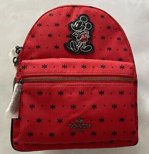Coach X F59831 Mickey Mouse Mini Charlie Backpack Prairie Bandana New With Tags