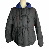 Vintage 80s Duck Down Puffer Ski Jacket L Black Blue Reversible Zip Pockets
