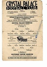 Crystal Palace v Southend United Reserves Programme 26.3.1952
