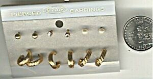 6 PAIRS RETRO GOLD PLATED STUD RHINESTONE PEARL HOOP LOOP EARRINGS ON CARD d476