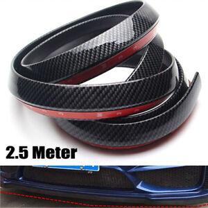 Black 2.5M Car Front Bumper Lip Splitter Spoiler Skirt Carbon Fiber Protector