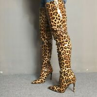 Women Over Knee Thigh Boots Side Zip Leopard Pointed Toe Stiletto Heel Shoes New