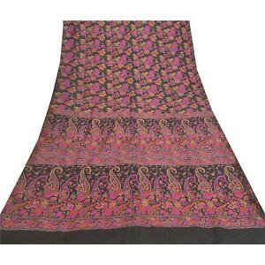 Sanskriti Vintage Black Sarees 100% Pure Silk Printed Sari Soft 5Yd Craft Fabric