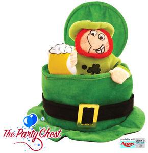 ST PATRICKS DAY TOP HAT WITH LEPRECHAUN Irish Party Fancy Dress Accessory Hat