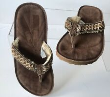 UGG TASMINA Braided Suede Sheepskin Toe Post Sandals Flip Flops Size UK 6 EUR 39