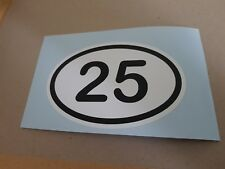 DOOR NUMBER STICKER PERSONALISED BLACK AND WHITE OVAL