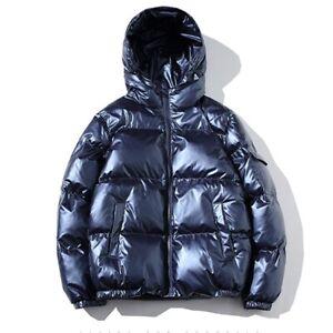 Men's Hooded Shiny Cotton Padded Jacket Bubble Puffer Winter Warm Outwear Coat