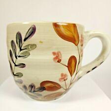 Home Trends SHADOWWOOD Coffee Mug Cup 16oz Large Ceramic Floral Brown Leaves