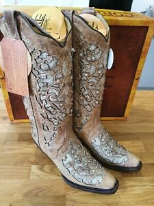 CORRAL BOOTS A3670 Inlay & Floral Embroidery & Stud Western Boots Size US7.5