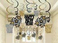 Happy New Year 30 Ct Hanging Swirls Decorations Asst Black Silver Gold