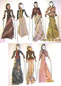 """Vintage Set Of 7 Wayang Golek Wooden Bali Puppets Asian Stick Marionettes 22"""""""