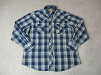 Wrangler Pearl Snap Shirt Adult Extra Large Blue Yellow Plaid Western Cowboy Men