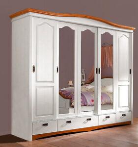 Kleiderschrank 249cm Kiefer Massivholz weiß Kirschbaum Schlafzimmer 434542
