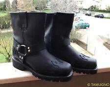 STIVALI UOMO PELLE NERA STILE MOTOCICLISTA Leather Boots Harness Flame ingl. 8.5