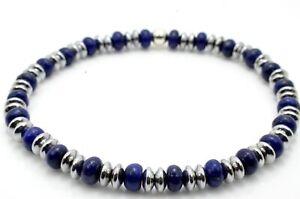 Mens Ladies Bead Bracelet Lapis Lazuli with Silver Hematite Handmade
