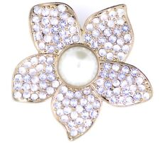 Vintage style 6cm large gold and white flower stretch ring with crystal