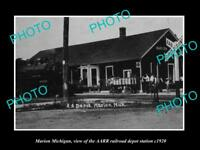 OLD LARGE HISTORIC PHOTO OF MARION MICHIGAN, THE RAILROAD DEPOT STATION c1920