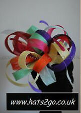 RAINBOW SINAMAY LARGE FASCINATOR ON COMB BY HATS2GO MADE TO ORDER NO RETURN