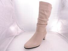 Tender Tootsies Womens Delaney Leather Almond Toe Mid-Calf, Off White, Size 8N