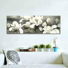 Huge Modern Art Print on Canvas Painting Pic Wall Home Decor Flowers Gray Framed