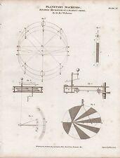 1809 stampa Georgiano macchine PLANETARIA equazione MECCANISMO PIANETI ORBITA Pearson