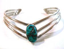 Navajo Cuff Bracelet Signed HARRY SPENCER Sterling Silver with Turquoise