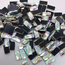 1000pcs 3x7mm DMC Clear AB 9Facet Rectangle Iron On Hotfix Crystal Rhinestones