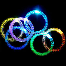 LED Light Up Bracelet Activated Glowing Party Flashing Color Bangle Wrist Band a