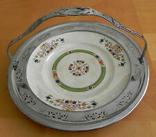 Vtg Server Plate by Hall China for Forman Bros. w Pierced Chrome Handle & Frame