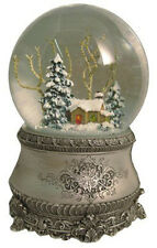 "5.5"" Cottage With Tree Glitter Silver Base 100mm Dome play music by Roman $240"
