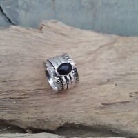 Black Onyx Solid 925 Sterling Silver Spinner Meditation Statement Ring V882