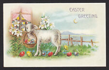Easter-HTL-Hold to Light-Lamb-Sheep-Eggs-Lilies-Moon-Antique Postcard