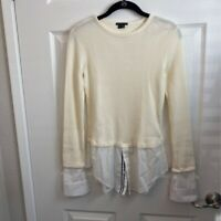 Theory Womens Thermal Layered Shirt Beige White Long Sleeve 100% Cotton S New