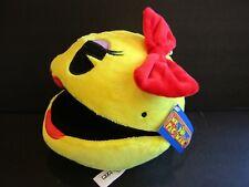 New! Bandai Namco~Ms Pac-Man~Yellow~Red Bow~Stuffed Toy~Loop To Hang