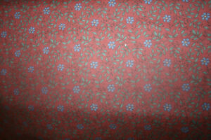 RARE/OOP -  COZY COTTON FLANNEL FROM THIMBLEBERRIES-BLUE FLOWERS ON MAROON