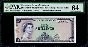 10/- Shillings 1960 Jamaica, Bank of Jamaica Pick# 51Bb PMG 64 Choice UNC