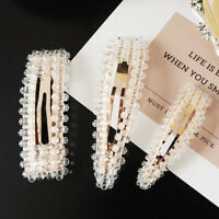Elegant Women's Crystal Hair Clips Snap Barrette Bobby Hairpin Hair Accessories