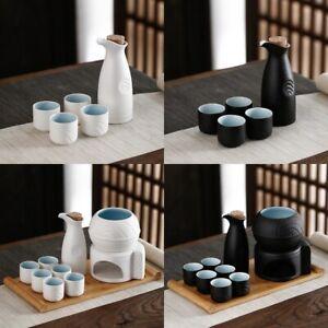 Chinese Style Ceramic Wine Pot Warmer Liquor Flask Japanese Style Sake Cups Set
