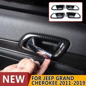 For 2011-2019 Jeep Grand Cherokee Carbon Fiber Inner Door Handle Bowl Cover Trim