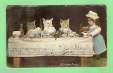 1908  POSTCARD - THREE KITTENS & DOLL CHILD'S DINNER PARTY