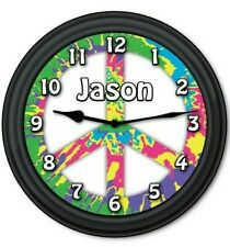 Personalized Peace Sign Tie Dye Wall Clock - Teen Hippie Bedroom Decor Gift