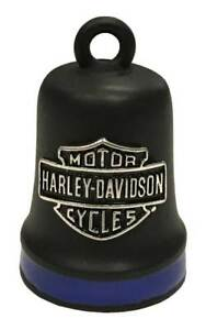 Harley-Davidson Bar & Shield Ride Bell, Matte Black w/ Blue Stripe HRB096