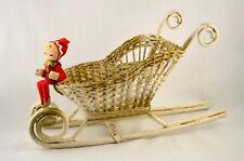 Vtg 1950s 60s Wicker Sleigh / Sled w/ Pixie Elf Christmas Decoration Centerpiece