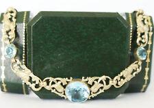Wunderschönes antikes Collier um 1900 mit blauen Steinen, Gold - double A2411