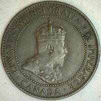1906 Copper Canadian Large Cent Coin 1-Cent Canada XF K6