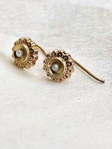 9ct Gold Antique Floral Earrings With Seed Pearls