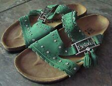 Betula by Birkenstock Rhinestone Embellished Green Leather Sandals Sz L7 M5