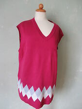 Ulla Popken Pullunder Pullover Kurzarm pink magenta Himbeerfarben 46 / 48 (S40)*