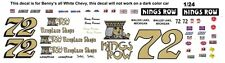 #72 Benny Parson Kings Row Fireplace Shops Chevy 1/25th - 1/24th Scale Decals