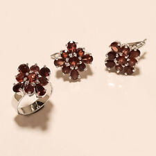 Natural Mozambique Garnet Ring Earrings 925 Sterling Silver Wedding Fine Jewelry